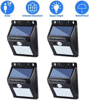 30 Led Solar Light Motion Sensor Wireless Radar Sensors Ip65 Security Christmas Wall Lights for Outdoor Wall, Patio, Deck, Yard, Garden With Motion Activated Auto on/off (4 Pack) - Better Daily Goods