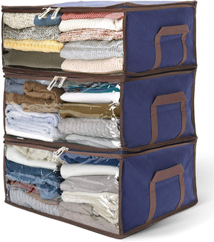 "Titan Mall Clothing Organizer Bags Bamboo Charcoal Fiber Storage Units for Clothes 19""x14""x8"" Royal Blue, Pack of 3"