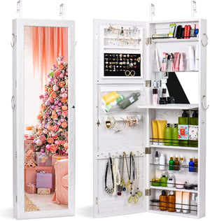 Jewelry Armoire Cabinet Wall Door Mounted Jewelry Armoire with Full-Length Mirror Lockable Large Jewelry Organizer(White) - Better Daily Goods