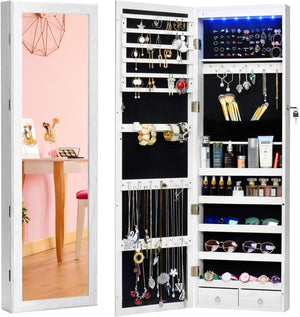 Jewelry Armoire Jewelry Organizer Wall Mounted Lockable 6 LEDs Wall Mounted Jewelry Armoire with Mirror 3 Drawers Door Large Jewelry Armoire Cabinet (White) - Better Daily Goods