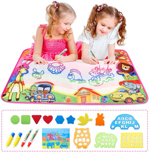 MESHA Water Drawing Mat Aquadoodle Drawing Mat 34.4 x 22.4 inch Mess Free Coloring Aqua Magic Doodle Mat Educational Toys Gifts for Kids Toddlers Boys Girls Age 1 2 3 4 5 6 7 8 Year Old in 7 Colors