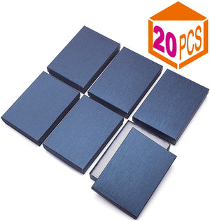 "20 Pcs Upgrade Jewelry Gift Boxes 5.25x3.75x1"" Cardboard Necklace Boxes (Blue) - Better Daily Goods"