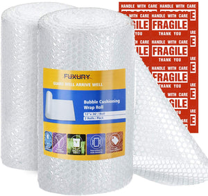 "Fuxury Bubble Cushioning Wrap Roll Air Bubble Roll 2 Rolls 72 Feet Total,Perforated Every 12"",Included 20 Fragile Sticker Labels for Packaging Moving Shipping Boxes Supplies"