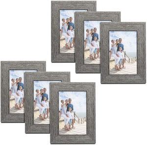 Picture Frames Wood Pattern 4x6 High Definition Glass Tabletop or Wall Rustic Photo Frame for Table Top and Wall Display Wood Grain Photo Frames 6 Pack (Light & Grey) - Better Daily Goods