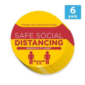 "Social Distancing Floor Decal Safety Sign Flexible Adhesive Vinyl Marker - 6"" X 6"" Round Sticker - Better Daily Goods"