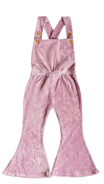 BIANCA VELOUR OVERALLS - PINK BERRY