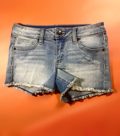 GIRLS LIGHT WASH DENIM SHORTS