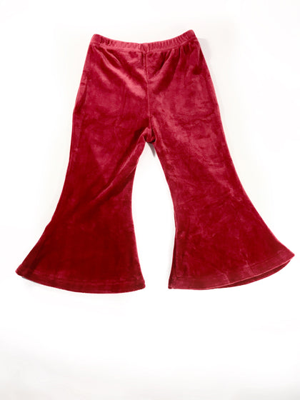 BROOKE VELOUR BELL BOTTOMS - SPICED CRANBERRY