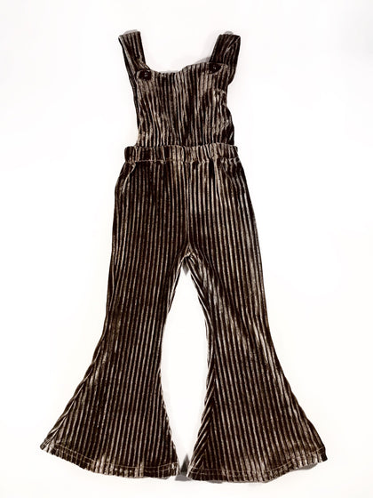 BIANCA VELOUR OVERALLS - CHOCOLATE RIPPLES