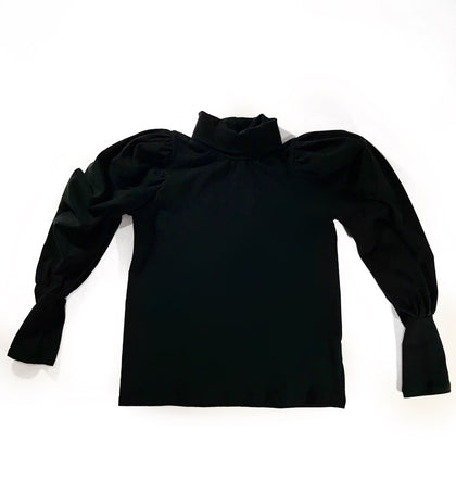 CAITLYN PUFF SLEEVE TOP - BLACK