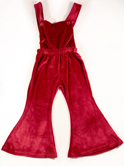 BIANCA VELOUR OVERALLS - SPICED CRANBERRY