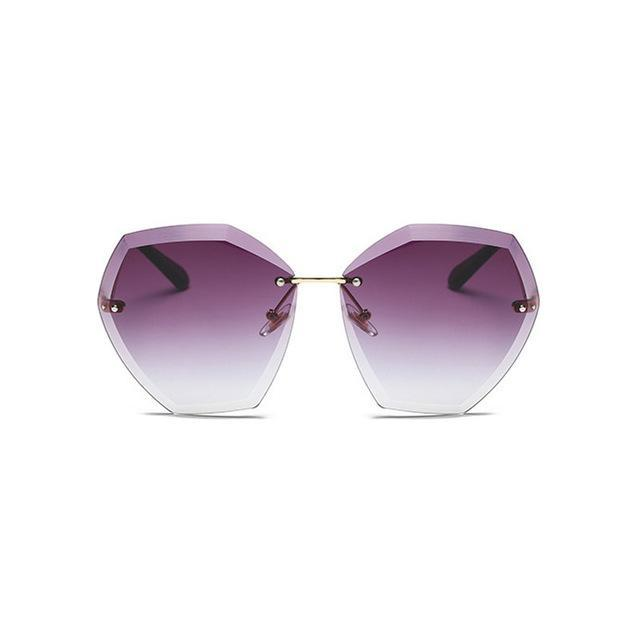 Summer Pink Gradient Rimless Sunglasses