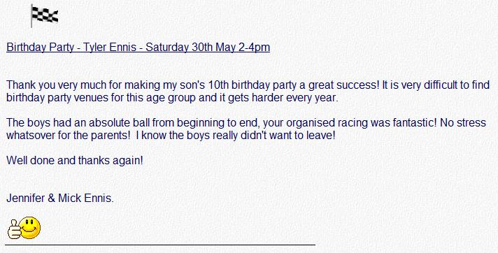 Scalextric birthday party thankyou email