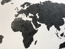 Load image into Gallery viewer, Close Up Shot of a Black and White Painting of the World Map created with Diamond Dust
