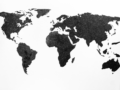 Black and White Painting of the World Map created with Diamond Dust