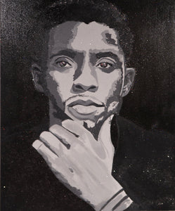 """Forever"" - Chadwick Boseman Original Painting Created with Crushed Glass"