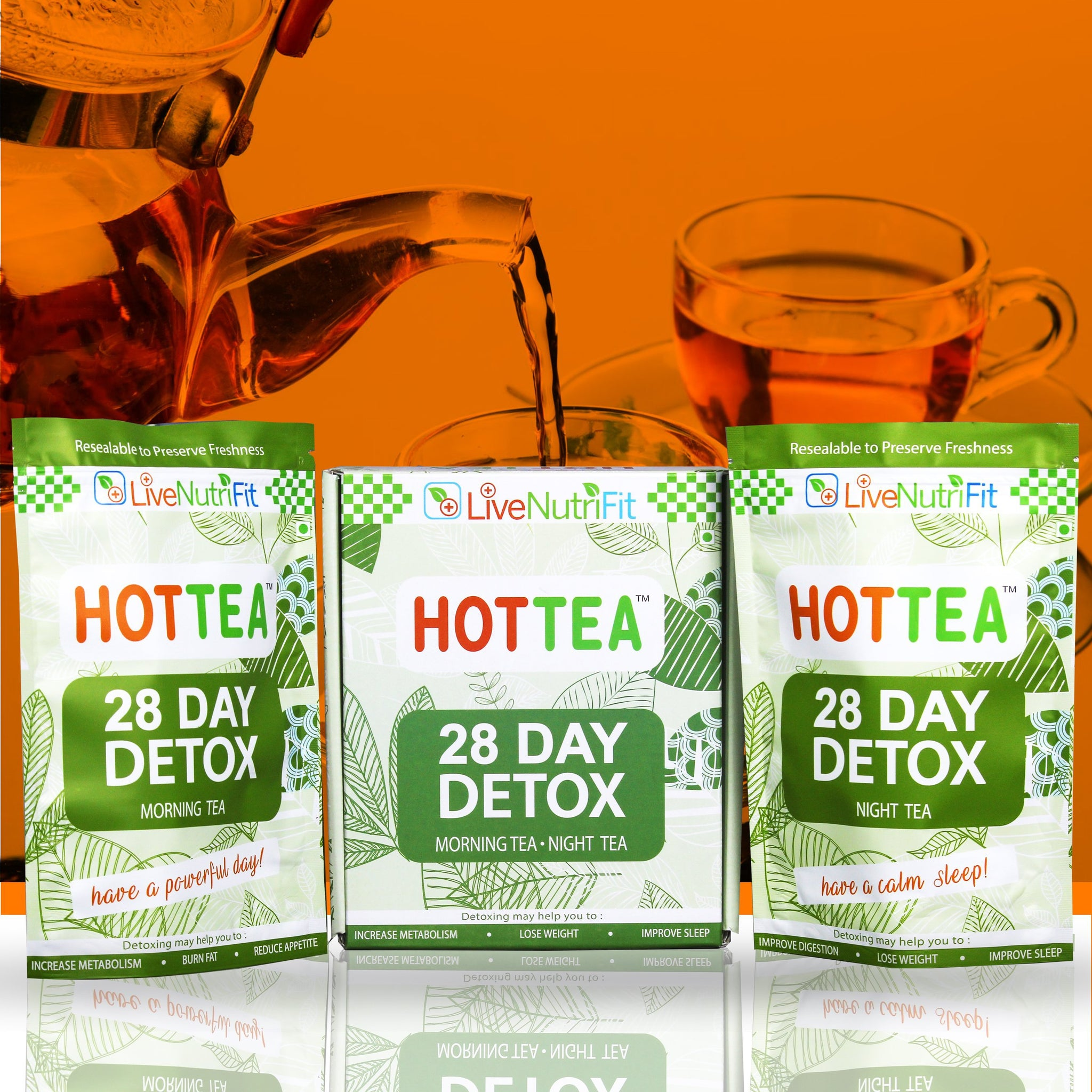 Hot tea for Weight Loss - 3 Months Detox - Day & Night + 1 Month Free