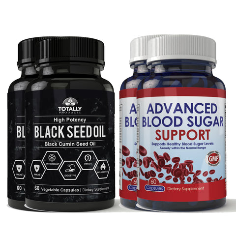 Blood Sugar Support plus Black Seed Oil Combo Pack (2 sets)
