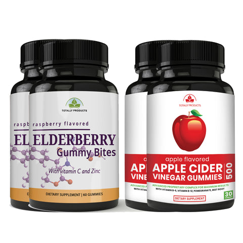 Black Elderberry Gummies Immune Booster and Apple Cider Gummies Combo Pack (2 sets)