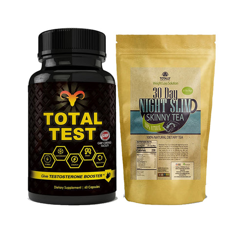 Total Test Testosterone Booster and Night Slim Skinny Tea Combo Pack