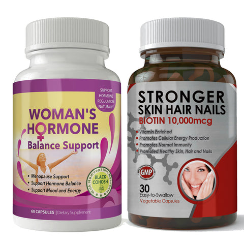 Biotin 10,000mcg and Woman's Hormone Support Combo Pack