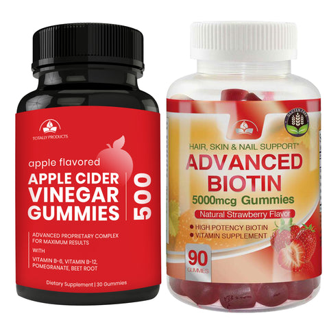Totally Products Apple Cider Vinegar Gummies plus Biotin Gummies Combo Pack