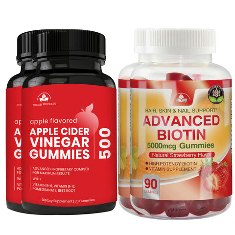 Totally Products Apple Cider Vinegar Gummies plus Biotin Gummies Combo Pack (2 sets)
