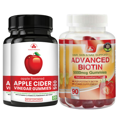 Apple Cider Vinegar Gummies with Pomegranate plus Biotin Gummies Combo Pack (2 sets)