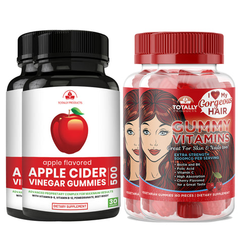 Apple Cider Vinegar Gummies with Pomegranate plus Gummy Vitamins Combo Pack (2 sets)