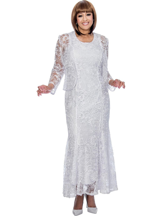 DCC142 White Jacket Dress, Dorinda Clark Cole DCC Rose Collection