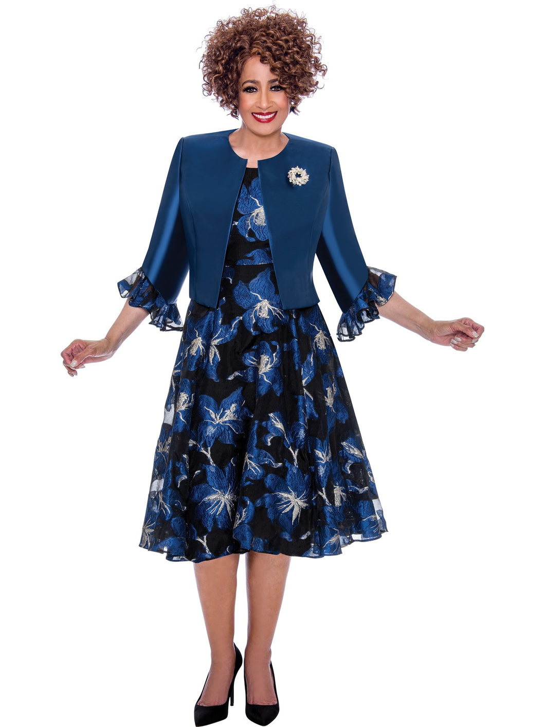DCC1962W Navy Jacket Dress, Dorinda Clark Cole DCC Rose Collection
