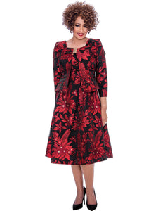DCC2142W Red Jacket Dress, Dorinda Clark Cole DCC Rose Collection