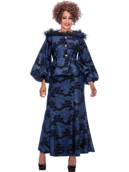 DCC2192 Navy Skirt Suit, Dorinda Clark Cole DCC Rose Collection