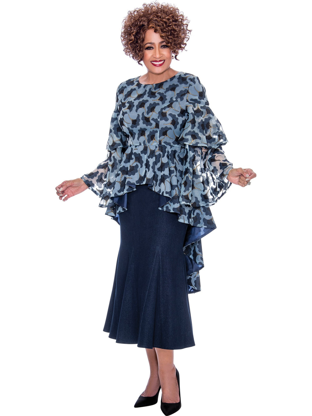 DCC2202 Navy Denim Skirt Set, Dorinda Clark Cole DCC Rose Collection
