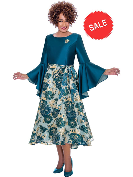 DCC2221 Teal Dress, Dorinda Clark Cole DCC Rose Collection