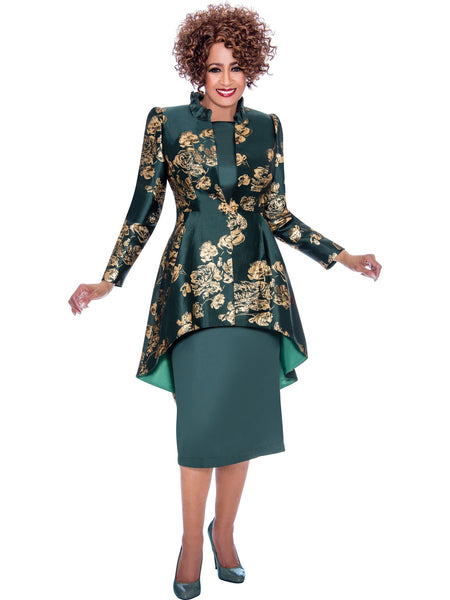 DCC2242 Green Jacket Dress, Dorinda Clark Cole DCC Rose Collection