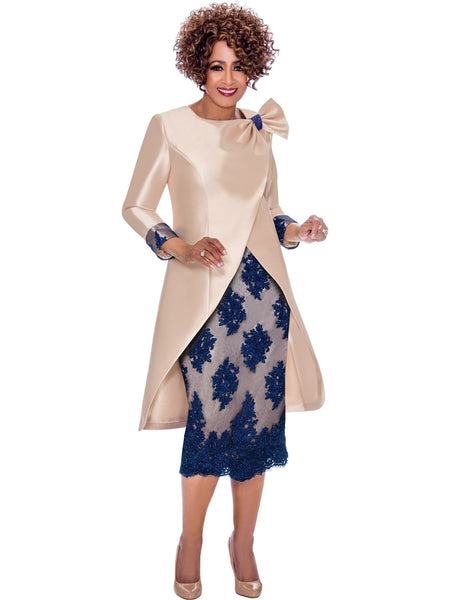 DCC2292 Champagne and Blue Skirt Suit, Dorinda Clark Cole DCC Rose Collection