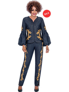 DCC2322 Navy Denim Pant Suit, Dorinda Clark Cole DCC Rose Collection