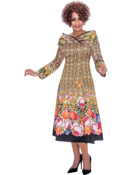 DCC2431 Animal and Floral Print Dress, Dorinda Clark Cole DCC Rose Collection