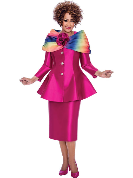 DCC2443 Fuchsia Skirt Suit, Dorinda Clark Cole DCC Rose Collection