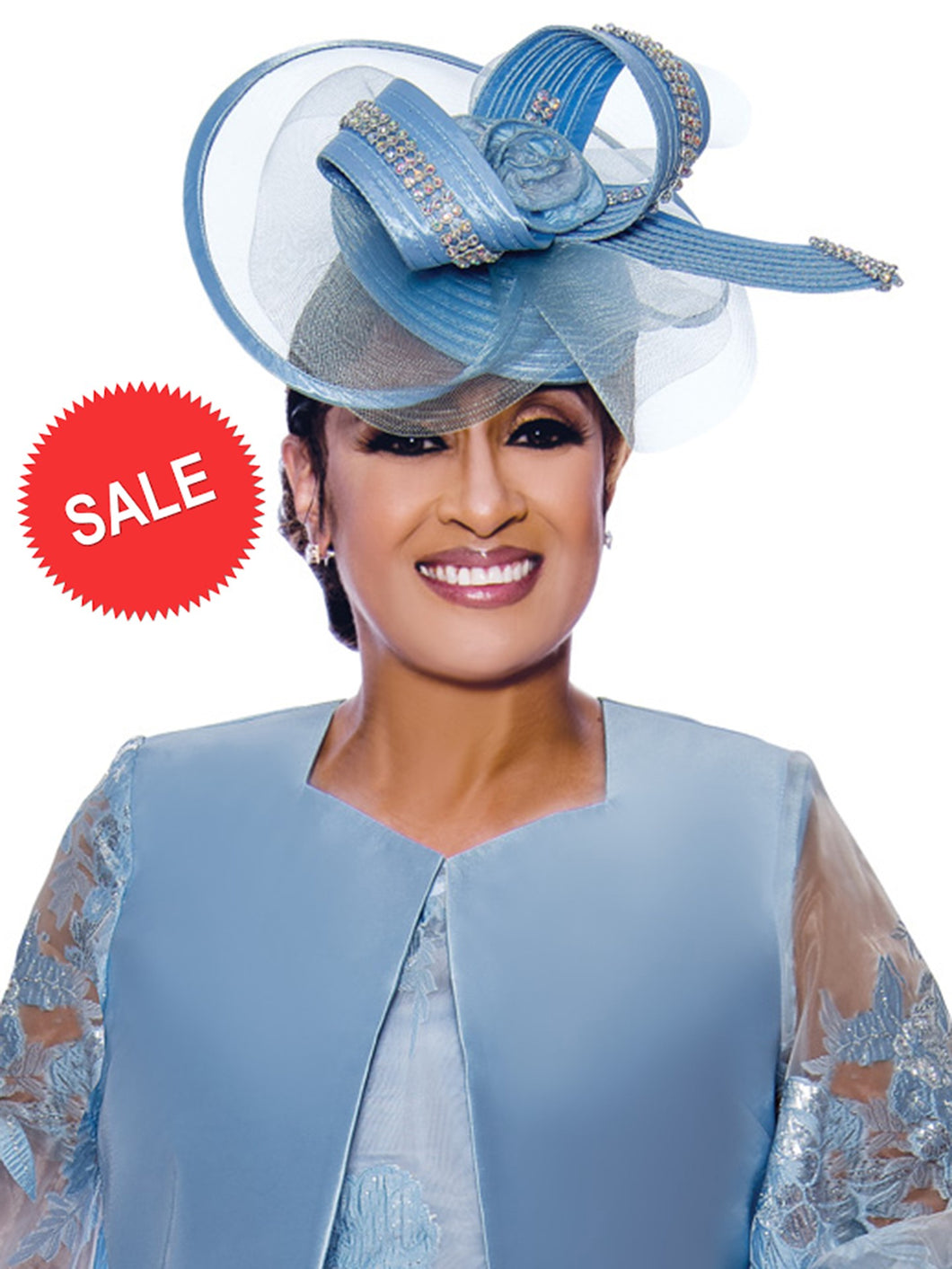 Dorinda Clark Cole DCC Rose Collection DCC2452 Blue Hat for Church, Special Occasion, Mother of the Bride