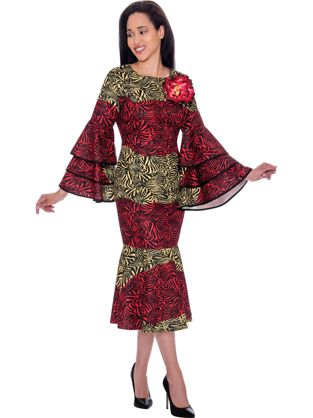 DN2711 Red Zebra Print Church or Special Occasion Dress, Dresses By Nubiano