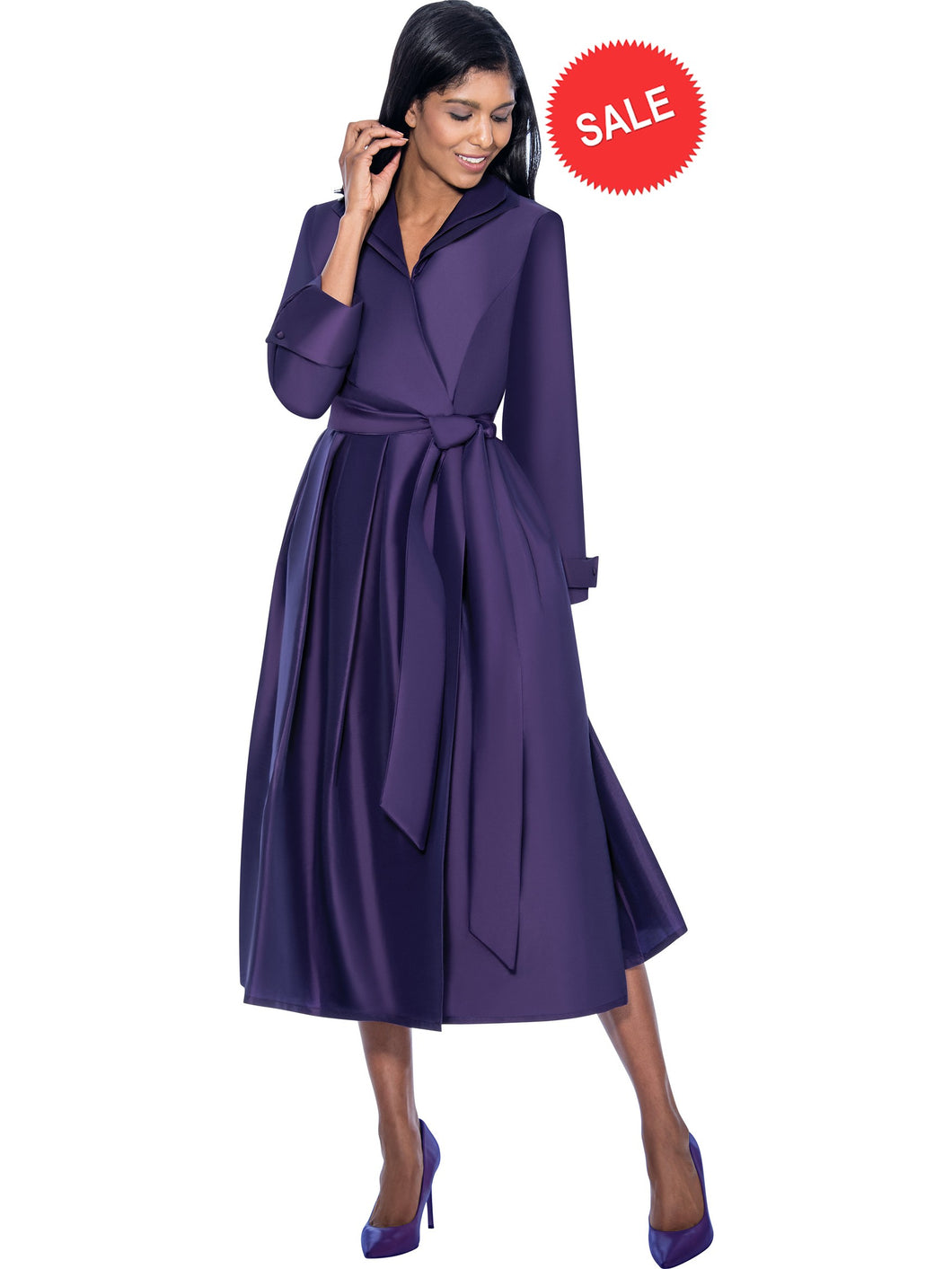 DN5371 Purple Wrap Dress, Usher Dress, Church, Choir, Group Uniform