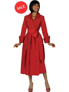 DN5371 Red Wrap Dress, Usher Dress, Church, Choir, Group Uniform