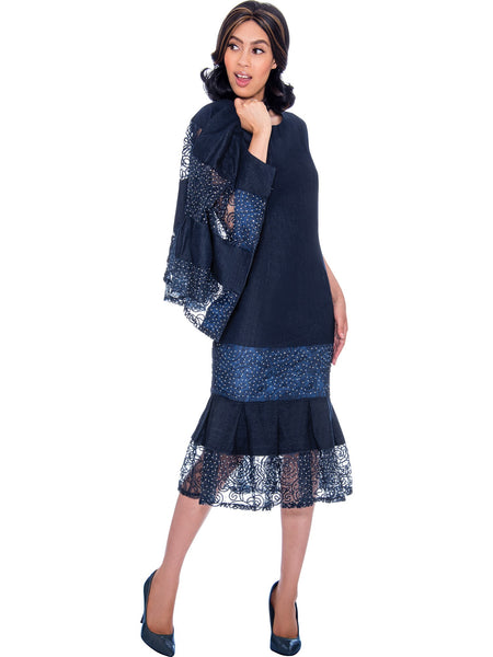DS62052 Navy Soft Stretch Denim Church Jacket Dress