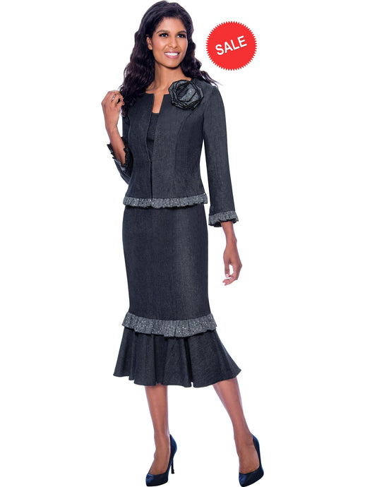DS62073 Devine Sport Black Soft Stretch Denim Skirt Suit