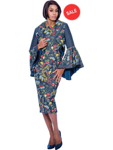 DS62082 Devine Sport Floral Soft Stretch Denim Church Jacket Dress