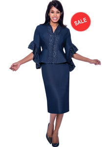 DS62112 Devine Sport Navy Soft Stretch Denim Church Skirt Suit