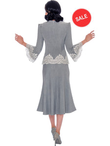 Silver Soft Stretch Denim Church Skirt Suit