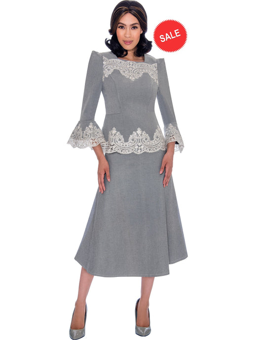 DS62132 Silver Soft Stretch Denim Church Skirt Set